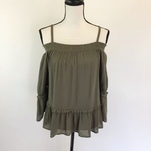 NWT BCX Flowy Off Shoulder Peasant Top L
